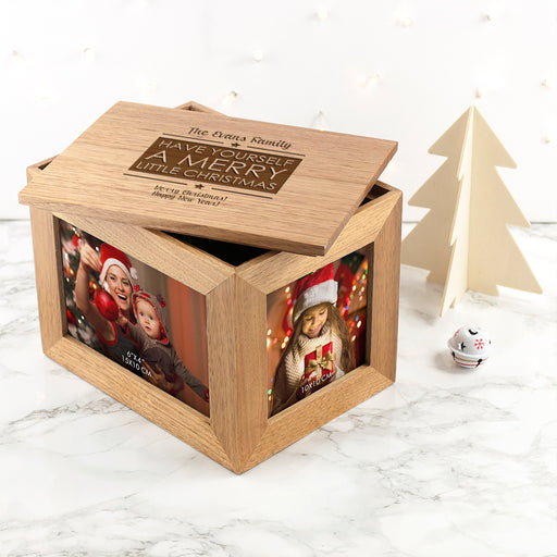 Personalised Merry Christmas Midi Oak Photo Frame Keepsake Box