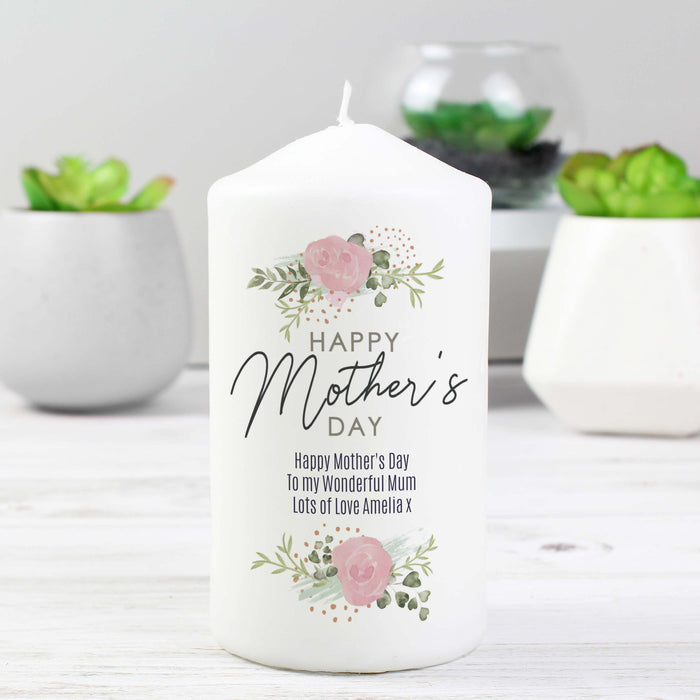Personalised Abstract Rose Happy Mother's Day Candle