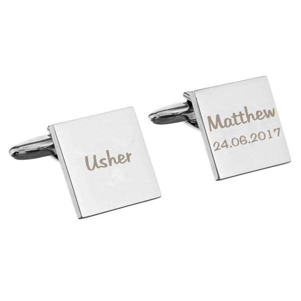 Personalised Wedding Role Square Cufflinks -1 line from Pukkagifts.uk