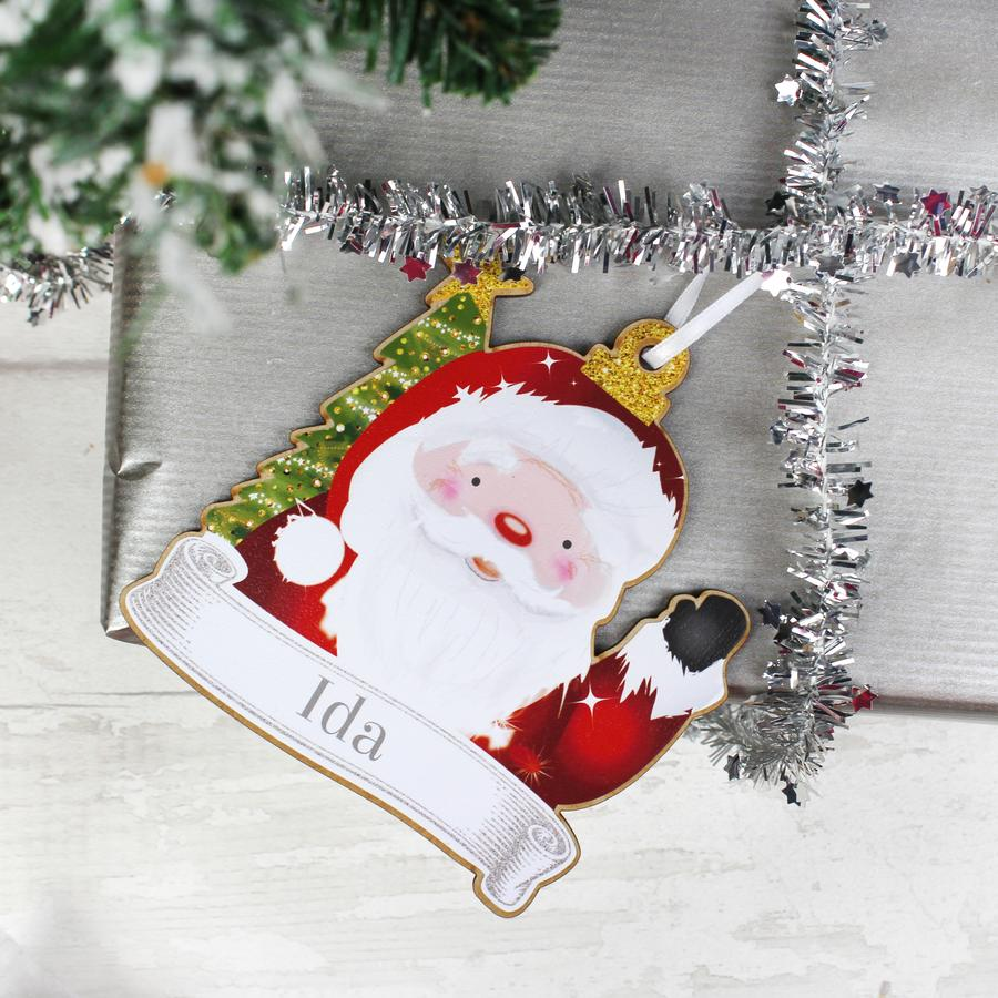 Personalised Set of Four Colourful Christmas Characters Wooden Hanging Decorations