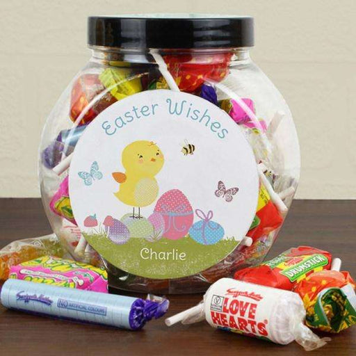 Personalised Easter Meadow Chick Sweets Jar from Pukkagifts.uk