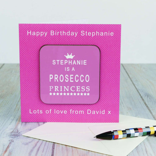 Personalised Coaster Card - Prosecco Princess from Pukkagifts.uk