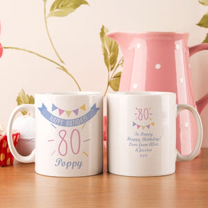Personalised 80th Birthday Bunting Mug For Her from Pukkagifts.uk