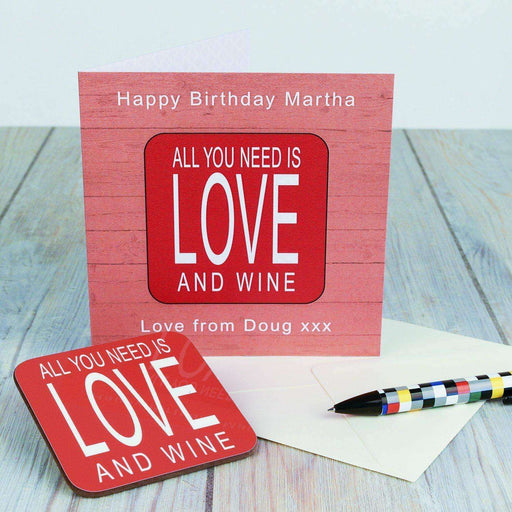 Personalised All You Need Is Love And.. Coaster Card from Pukkagifts.uk