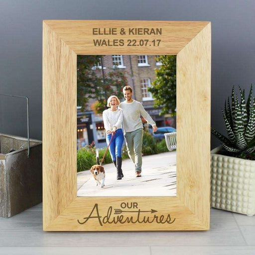 Personalised Our Adventure 5x7 Wooden Photo Frame from Pukkagifts.uk