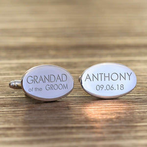 Personalised Grandad Of The Groom Oval Cufflinks from Pukkagifts.uk