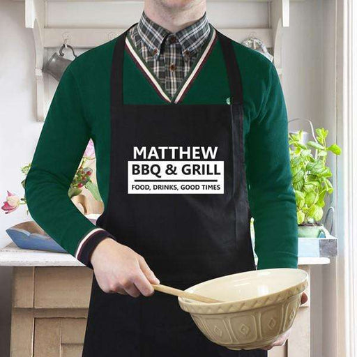 Personalised BBQ & Grill Black Apron from Pukkagifts.uk