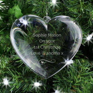 Personalised Clear Acrylic Heart Christmas Tree Decoration from Pukkagifts.uk