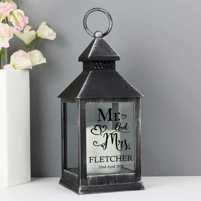 Personalised Mr and Mrs Rustic Black Lantern from Pukkagifts.uk
