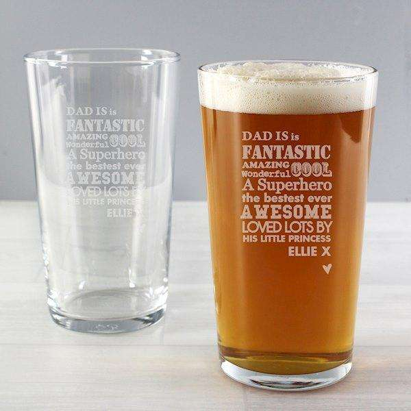 Personalised Superhero Pint Glass from Pukkagifts.uk