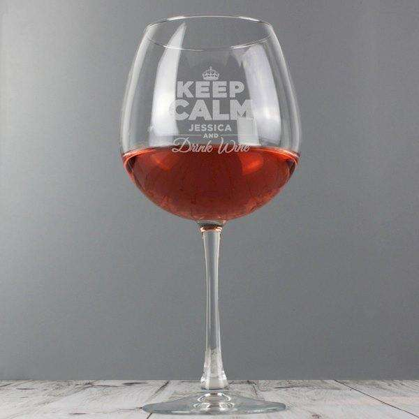 Personalised Keep Calm Bottle of Wine Glass from Pukkagifts.uk