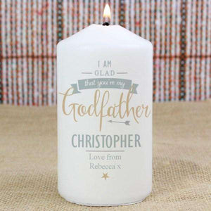 Personalised I Am Glad That You're My Godfather Candle from Pukkagifts.uk