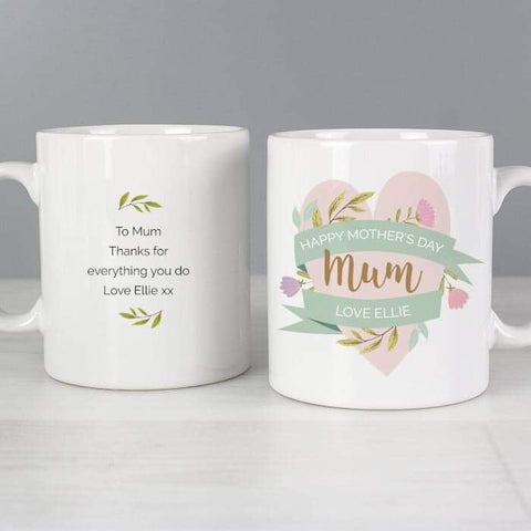 Personalised Floral Heart Mug | Gift For Mum | Mothers Day | Her | Nan | Grandma