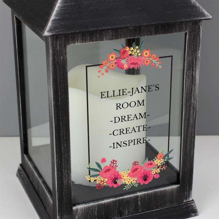 Personalised Floral Rustic Black Lantern from Pukkagifts.uk