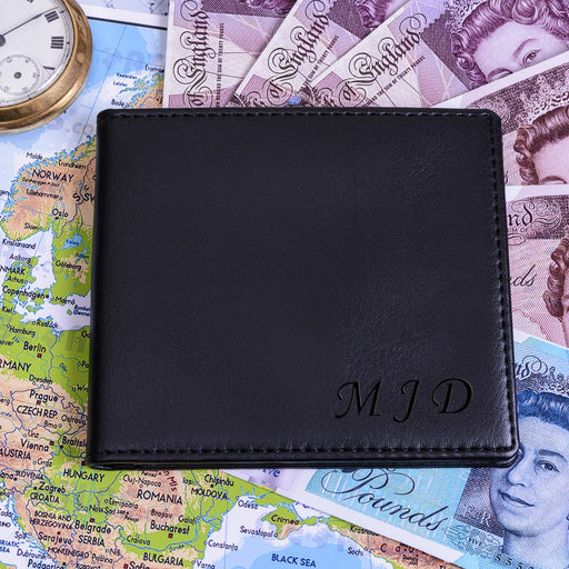 Personalised Black Wallet with Initials