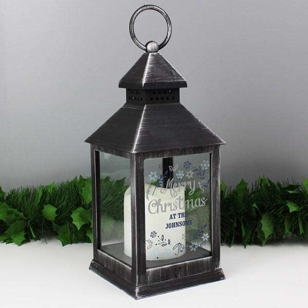 Personalised Merry Christmas Frost Rustic Black Lantern from Pukkagifts.uk