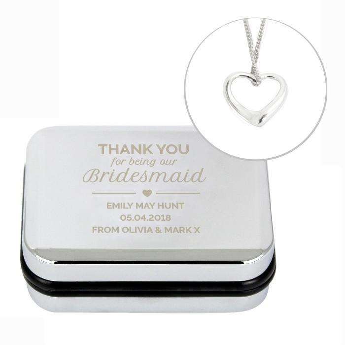 Personalised Bridesmaid Box and Heart Necklace from Pukkagifts.uk