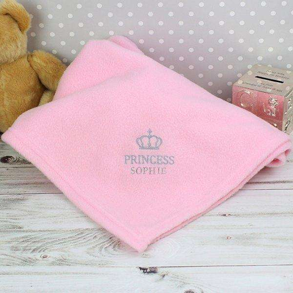 Personalised Pink Crown Blanket Baby Girl from Pukkagifts.uk