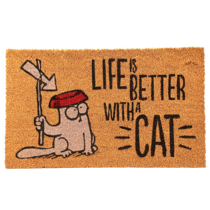 Simon's Cat Coir Doormat - Life is Better With A Cat from Pukkagifts.uk