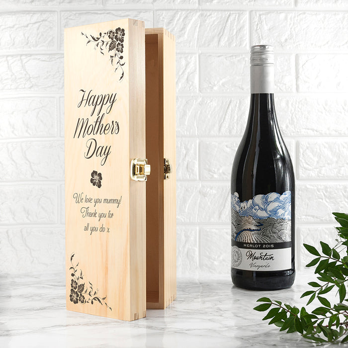 PERSONALISED MOTHER'S DAY WINE BOX WITH FLORAL CORNERS