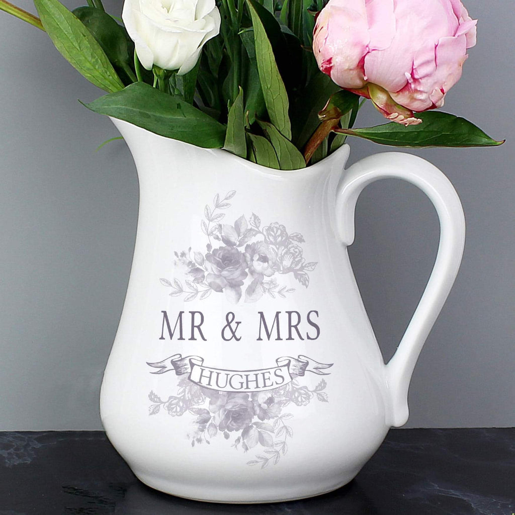 Personalised Vintage Floral Ceramic Flower Jug From Pukkagifts.uk
