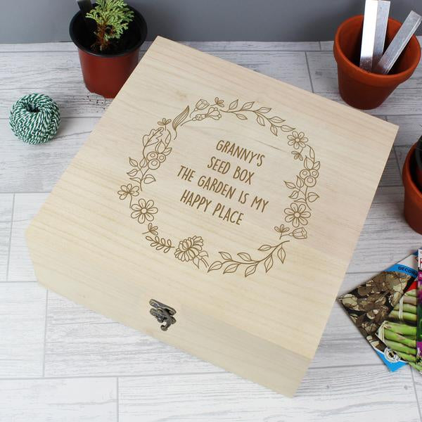 Personalised Floral Wreath Large Wooden Keepsake Box from Pukkagifts.uk