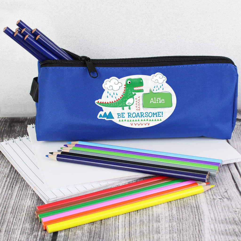 Personalised Be Roarsome Dinosaur Blue Pencil Case from Pukkagifts.uk