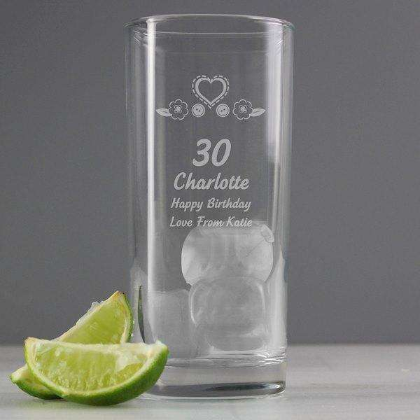 Personalised Birthday Age Female Hi Ball Glass from Pukkagifts.uk