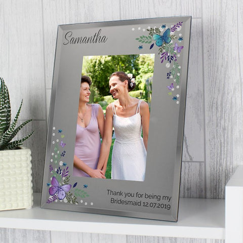 Personalised Butterfly Diamante Glass Photo Frame 4x6