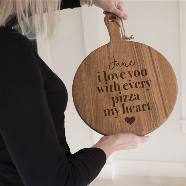 "Personalised I love You With Every Pizza My Heart Oak 12"" Pizza Board"