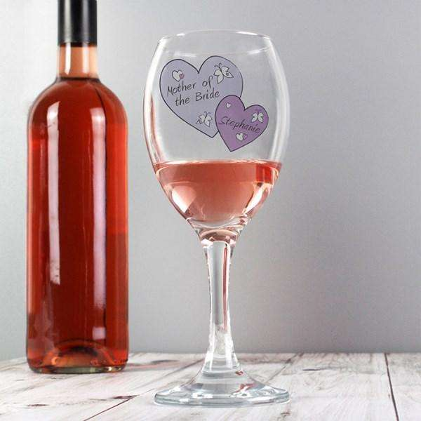 Personalised Butterfly Hearts Wedding Wine Glass from Pukkagifts.uk
