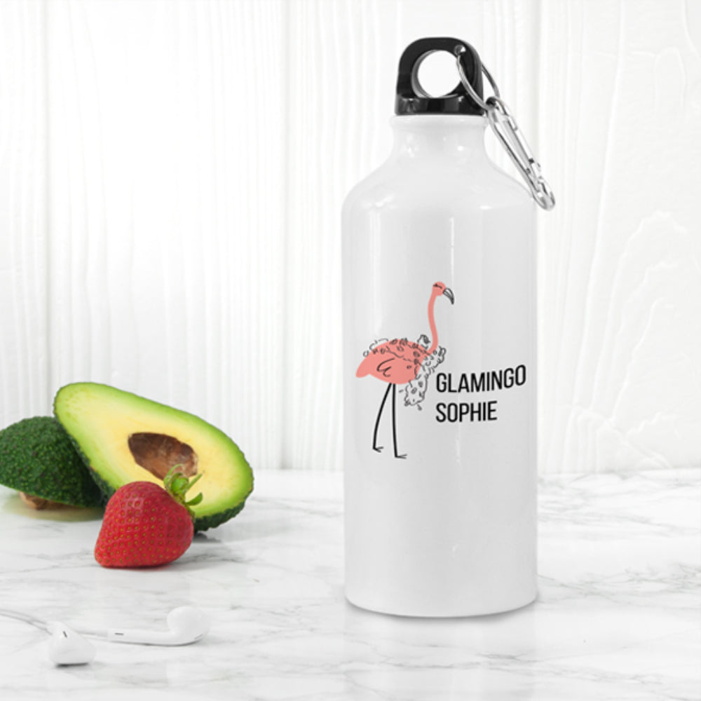 Personalised Glamingo White Water Bottle