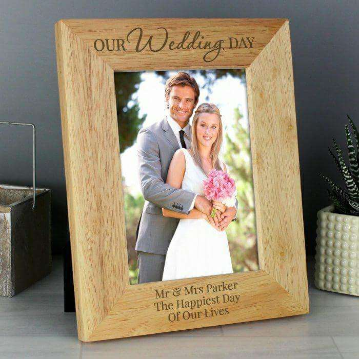 Personalised 'Our Wedding Day' Wooden 5x7 Photo Frame from Pukkagifts.uk