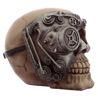 Steampunk Skull Ornament - Silver