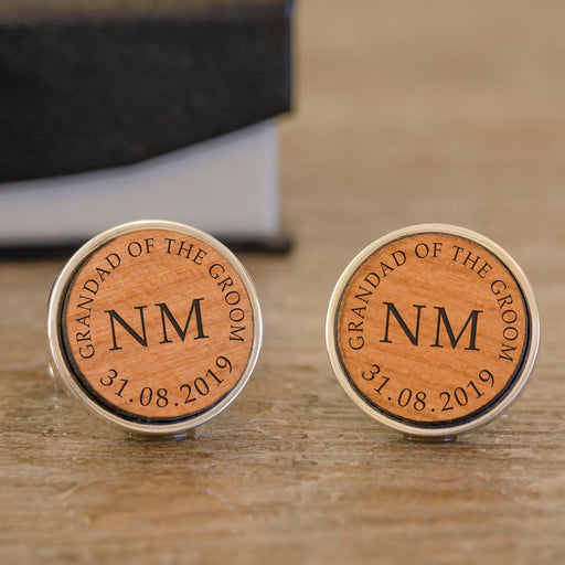 Personalised Grandad Of The Groom Wooden Cufflinks from Pukkagifts.uk