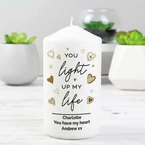 Personalised You Light Up My Life Pillar Candle