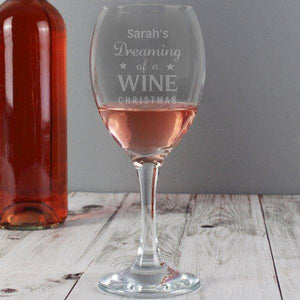 Personalised Dreaming of a Wine Christmas Wine Glass from Pukkagifts.uk