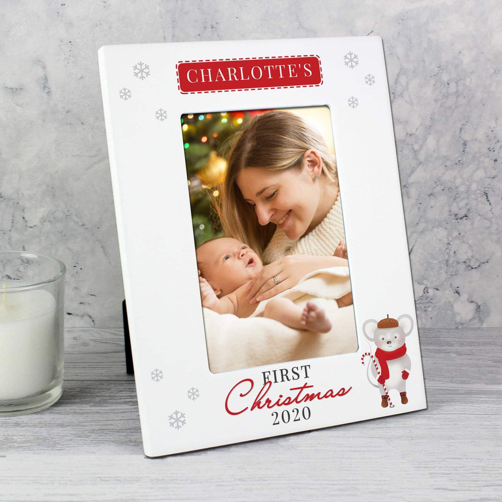 Personalised Baby's 1st Christmas Mouse White Photo Frame 6x4