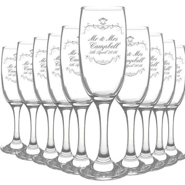 Personalised Ornate Swirl Toast Flute Pack of 10 from Pukkagifts.uk