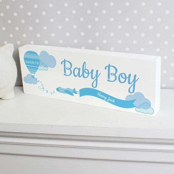 Personalised Up & Away Baby Boy Wooden Block Sign from Pukkagifts.uk