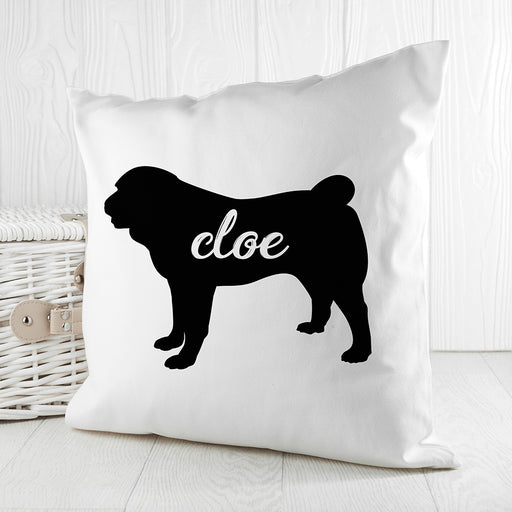 Personalised Pug Silhouette Cushion Cover from Pukkagifts.uk