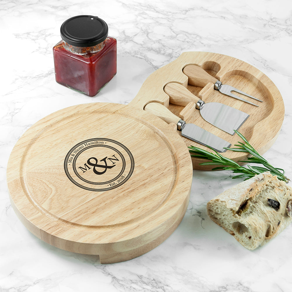 Personalised Monogram Couple Round Cheese Board with Knives from Pukkagifts.uk