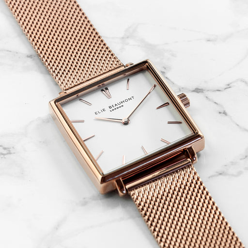 Personalised Rose Gold Coloured Mesh Strap Elie Beaumont Women's Watch