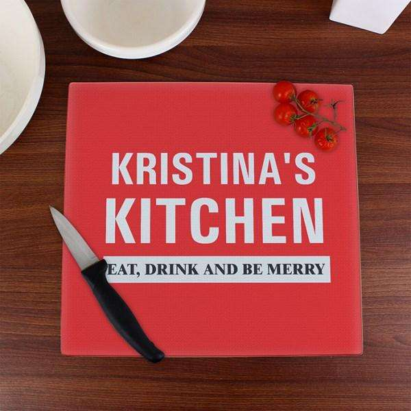 Personalised Kitchen Glass Chopping Board from Pukkagifts.uk