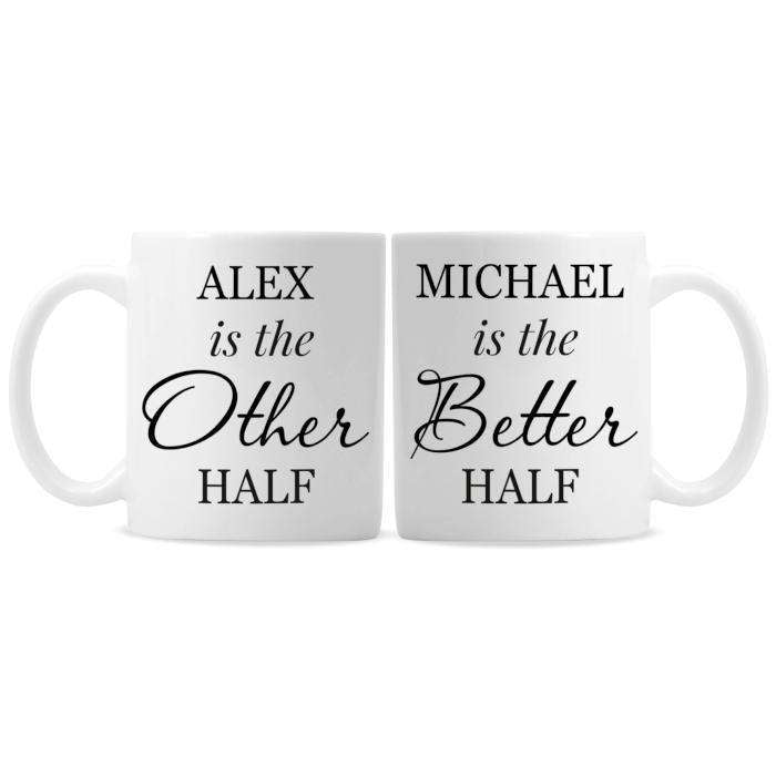 Personalised Other Half and Better Half Mug Set from Pukkagifts.uk