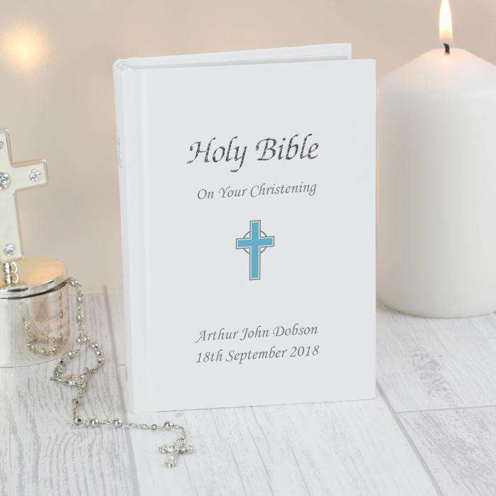 Personalised Boys Blue Cross Holy Bible from Pukkagifts.uk