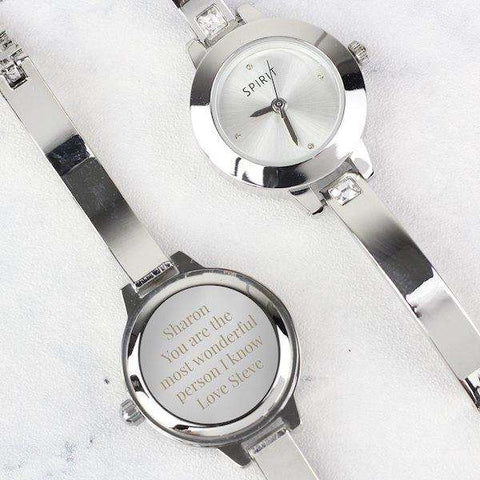 Personalised Ladies Watch Set: Engraved Watch, Bracelet and Necklace in Gift Box from Pukkagifts.uk