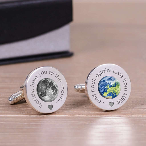 Daddy Love You To The Moon And Back Again Cufflinks from Pukkagifts.uk