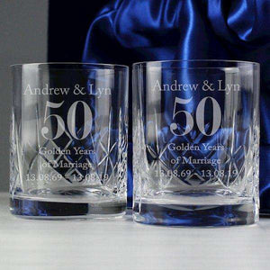 Pair Of Personalised Anniversary Crystal Whisky Glasses from Pukkagifts.uk