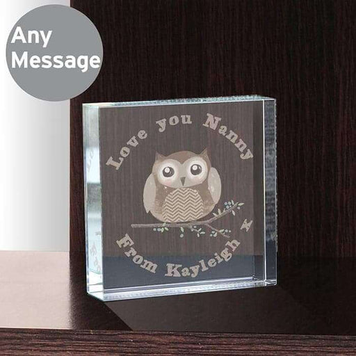 Personalised Woodland Owl Large Crystal Token from Pukkagifts.uk